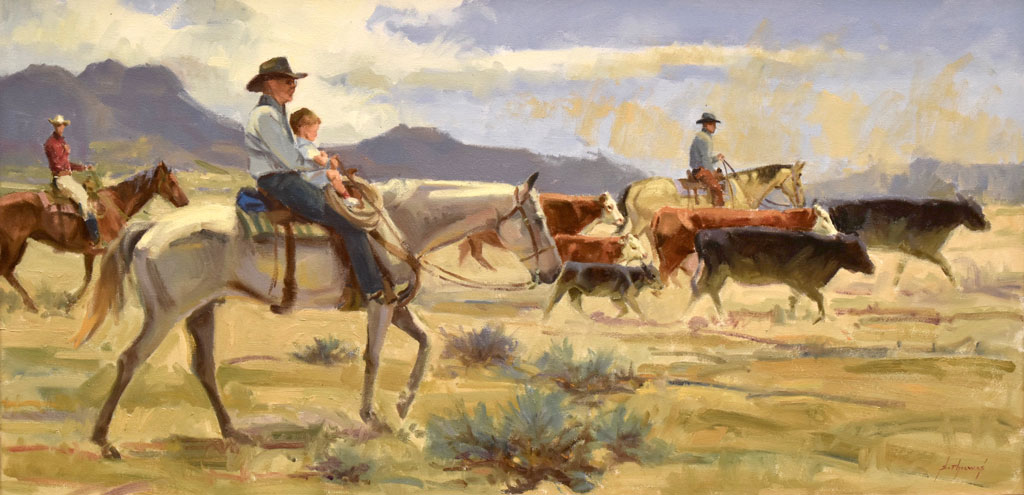 "Trail dust and grandpa 15""x30"""